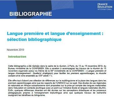 Langue première et langue d'enseignement : sélection bibliographique