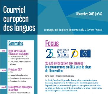 Courriel européen des langues n° 42 : 25 ans d'éducation aux langues