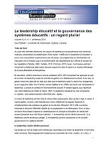 Vol. XLVI, n° 1 - printemps 2018 - Le leadership éducatif et la gouvernance des systèmes éducatifs : un regard pluriel