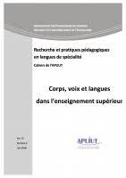 vol. 37, n° 22 - 2018 - Corps, voix et langues dans l'enseignement supérieur