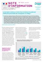n° 19.23 - juin 2019 - La formation continue, un levier face à la baisse du sentiment d'efficacité personnelle des enseignants au collège ?