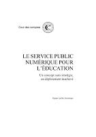 Le service public numérique pour l'éducation : un concept sans stratégie, un déploiement inachevé : rapport public thématique
