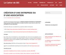 Les cahiers de SES : création d'une entreprise ou d'une association