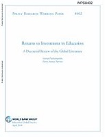Returns to investment in education: a decennial review of the global literature