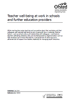 Teacher well-being at work in schools and further education providers