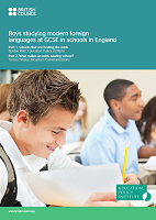 Boys studying modern foreign languages at GCSE in schools in England