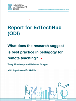Report for EdTechHub (ODI) : what does the research suggest is pedagogy for remote teaching ?