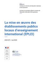 La mise en œuvre des établissements publics locaux d'enseignement international (EPLEI)