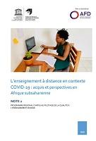 L'enseignement à distance en contexte COVID-19 : acquis et perspectives en Afrique subsaharienne : note 2 programme régional d'appui au pilotage de la qualité à l'enseignement de base