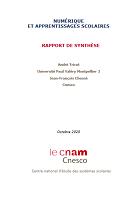 Numérique et apprentissages scolaires : rapport de synthèse