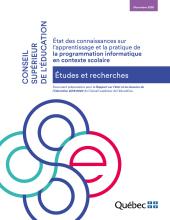 État des connaissances sur l'apprentissage et la pratique de la programmation informatique en contexte scolaire