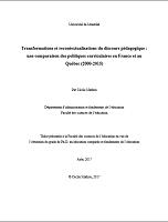 Transformations et recontextualisations du discours pédagogique : une comparaison des politiques curriculaires en France et au Québec (2000-2015). Thèse présentée à la Faculté de l'éducation