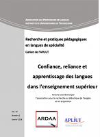 vol. 37, n° 1 - 2018 - Confiance, reliance et apprentissage des langues dans l'enseignement supérieur