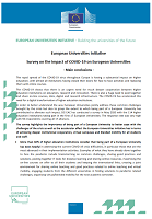 Survey on the impact of COVID-19 on European Universities: main conclusions