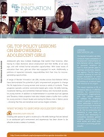 GIL top policy lessons on empowering adolescent girls