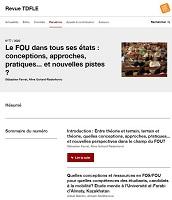 n° 77 - 2020 - Le FOU dans tous ses états : conceptions, approches, pratiques... et nouvelles pistes ?