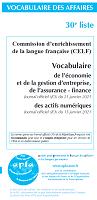 Vocabulaire de l'économie et de la gestion d'entreprise, de l'assurance-finance, des actifs numériques