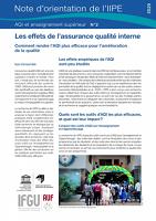 Les effets de l'assurance qualité interne: comment rendre l'AQI plus efficace pour l'amélioration de la qualité