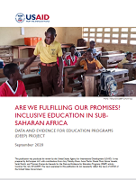 Are we fulfilling our promises ? Inclusive education in sub-Suharan Africa date and evidence for education programs (DEEP) projet