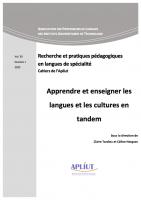 Vol. 39, n° 1 - 2020 - Apprendre et enseigner les langues et les cultures en tandem